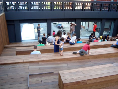 The Sunken Overlook at the Tenth Avenue Square is an informal gathering place