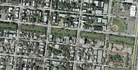 Google Earth close-up. Embankments extend 6 blocks long from West to East.