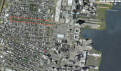Google Earth shot of Embankment. Highlighted in red.