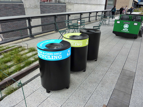 High Line's snazzy recycling and trash cans. Located under the Standard Hotel and the Chelsea Market Passage