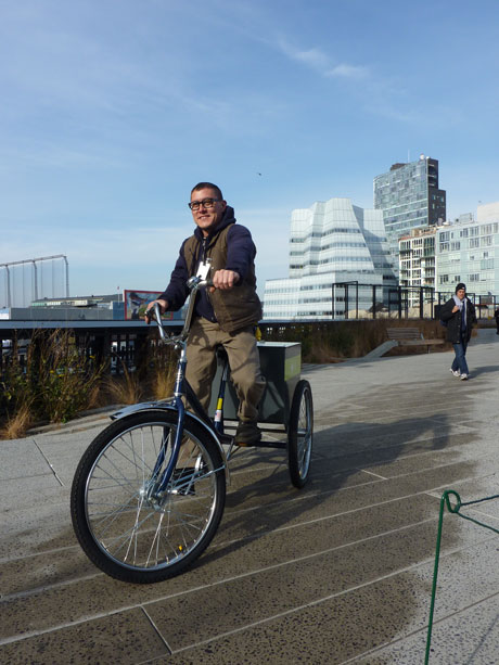 High Line Gardener Johnny Linville, sampling the new maintanence trike